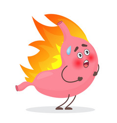 cute stomach emotions character in fire gastritis vector image