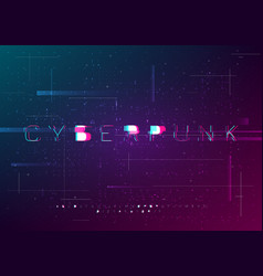 cyber font design with glitch effect vector image