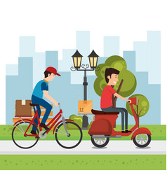delivery worker with vehicles character vector image