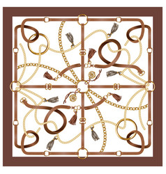 Design scarf with belts chain vector
