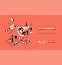 Digital marketing - line design style isometric vector