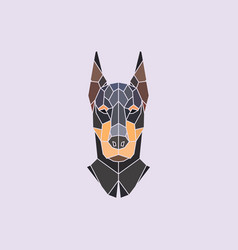 Doberman head polygonal background vector
