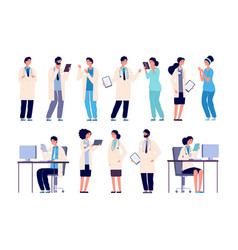 doctor characters medical hospital staff people vector image