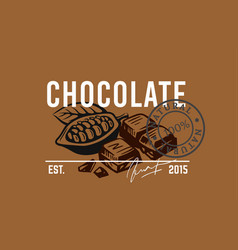 emblem pieces chocolate with text vector image
