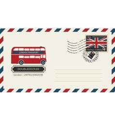 Envelope with postage stamp with doubledecker vector