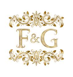 F and g vintage initials logo symbol vector