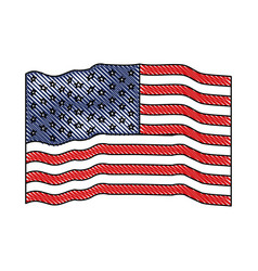 flag united states of america waving colored vector image