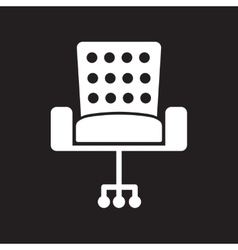 Flat icon in black and white style office chair vector
