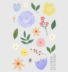 Flower and leaf stickers set vector