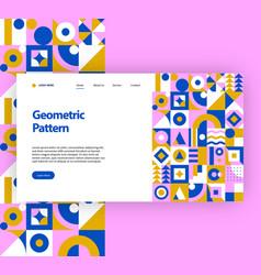 Geometric pattern website template vector