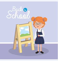 girl student wearing glasses with paintbrush and vector image