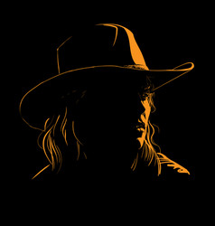 girl with cowboy hat silhouette in contrast vector image