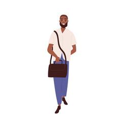 Happy black man full-length portrait modern young vector