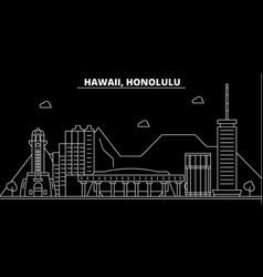 honolulu silhouette skyline usa - honolulu vector image