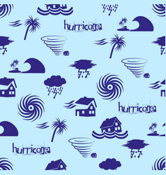 Hurricane natural disaster problem icons blue vector