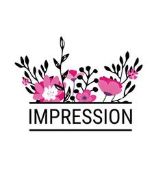 Impression floral border with inscription vector