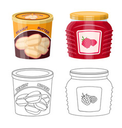 Isolated object of can and food icon set of can vector