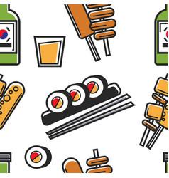 Korean food sushi and deep fried fast food soju vector