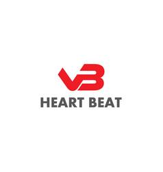 Letter vb heart beat sign logo vector