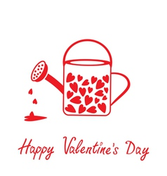 Love watering can with hearts Valentines Day card vector image