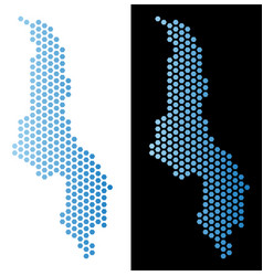 Malawi map hex-tile scheme vector