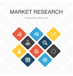 Market research infographic 10 option color design vector