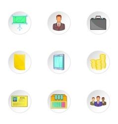 Marketing icons set cartoon style vector image