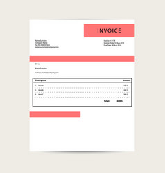 minimal invoice template bill sample vector image