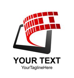 mobile phone app center logo design template vector image
