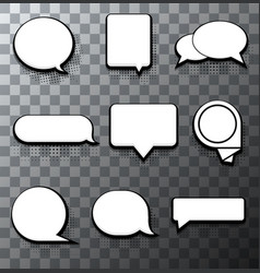 Modern halftone bubble speech icon set vector