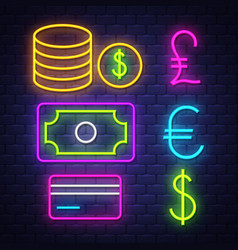 money and banking neon signs collection vector image