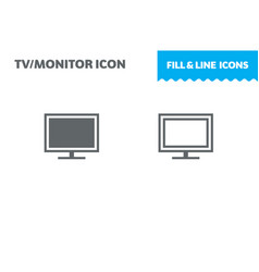 monitor icon fill and line flat design vector image