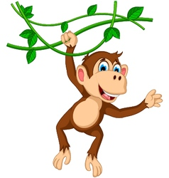 Monkey cartoon hanging vector