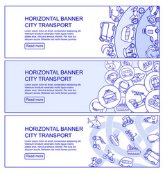Monochrome city transport horizontal banners vector