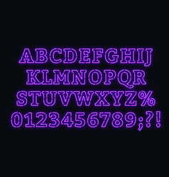 Neon purple alphabet bright capital letters with vector