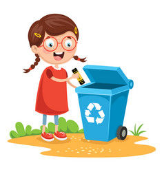 of kid recycling battery vector image