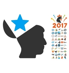 Open Head Star Icon With 2017 Year Bonus vector image vector image