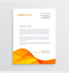 orange business letterhead design template vector image