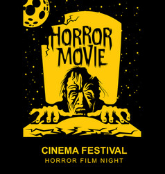 poster for horror movie festival scary cinema vector image