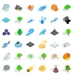 Rain icons set isometric style vector