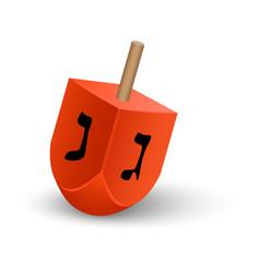 Red dreidel icon realistic style vector