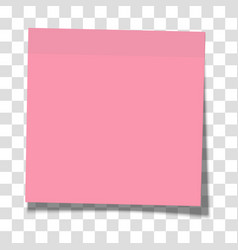 Rosy paper sticky note glued to surface vector