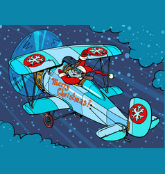 santa claus is flying on a plane vector image