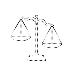 scales of justice sign black dotted icon vector image