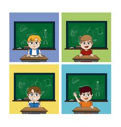 school boys cartoons vector image