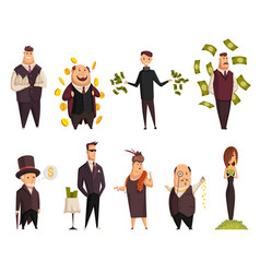 set cartoon rich people happy super vector image