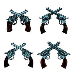 set crossed revolvers on white background vector image