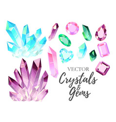 set crystals and gems vector image