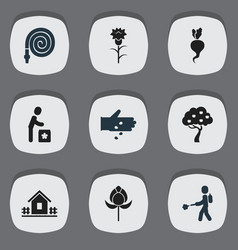 set of 9 editable garden icons includes symbols vector image