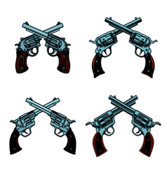 Set of crossed revolvers on white background vector